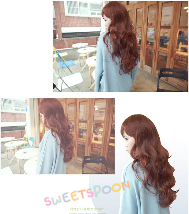 Korean Fashion Beauty Wig - Glam Wave Color Chocolate Brown Korean Fashion Beauty Wig - Glam Wave Sweet Spoon Color Red Brown Model 3