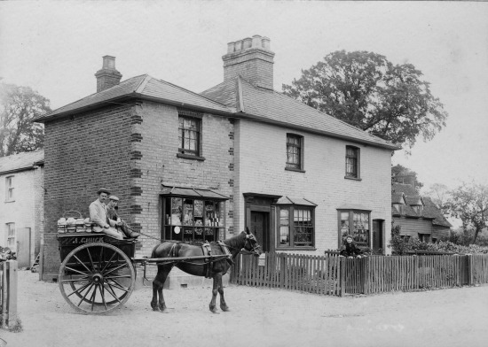 Photograph of Jonah Chuck starting his round from his Dellsome Lane bakery. Wife Beatrice is looking on from behind the gate. Image c. 1900 by G. Knott, given to Mike Allen by P. Grant for the Images of North Mymms project.