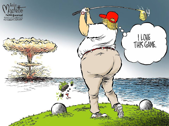 Trump at golf course hitting drive that turns into mushroom cloud saying,