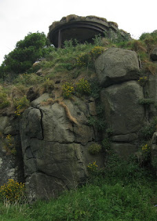 Gun turret atop rock outcropping, Inchcolm, Scotland