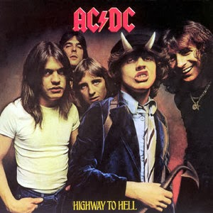 AC/DC Highway To Hell album 1979. Last album with Bon Scott on the right