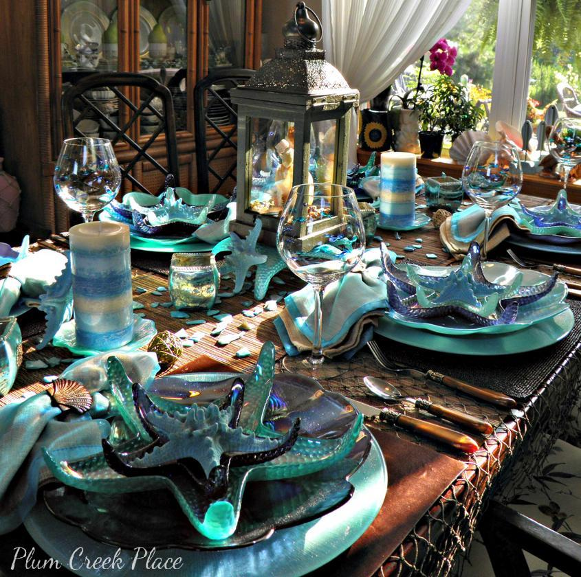 Summer Beach Tablescape And A Summer Tablescape Party: Plum Creek Place: Blue On Blue Seascape Table Setting