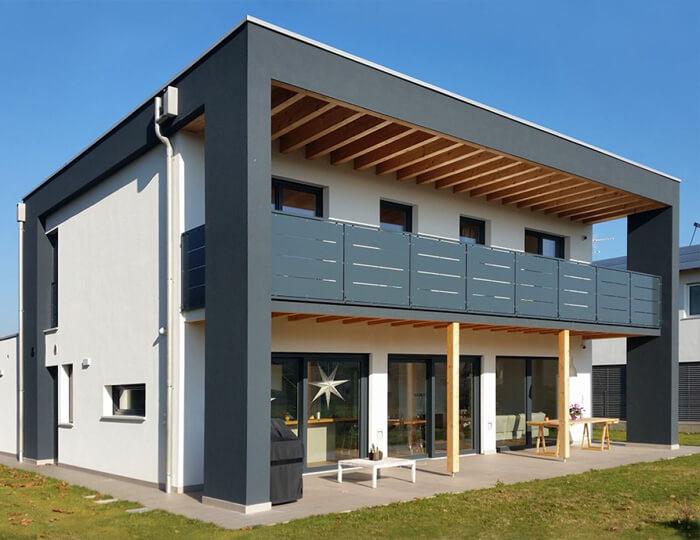 Casa in stile moderna prefabbricata in legno su due livelli