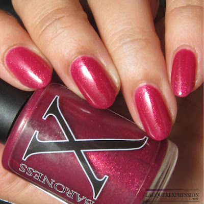 "nail polish swatch of Liquid Hot ""Magma"" by Baroness X"