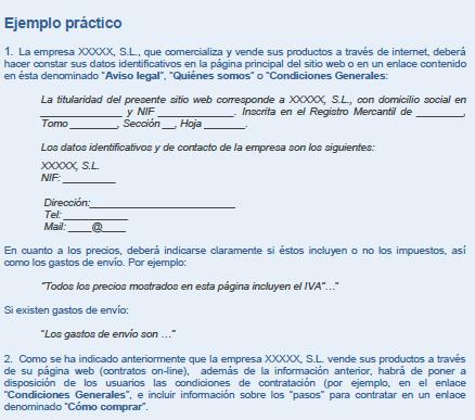 Captura ejemplo práctico Aviso Legal