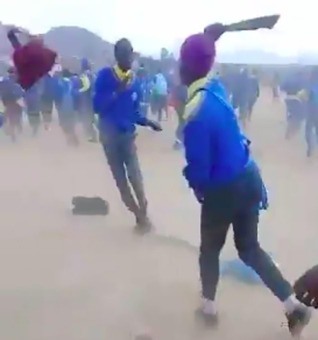Terrifying video show student fighting with MACHETES in South Africa