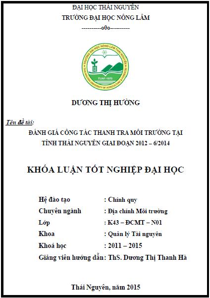 Đánh giá công tác thanh tra môi trường tại tỉnh Thái Nguyên giai đoạn 2012 – 6/2014