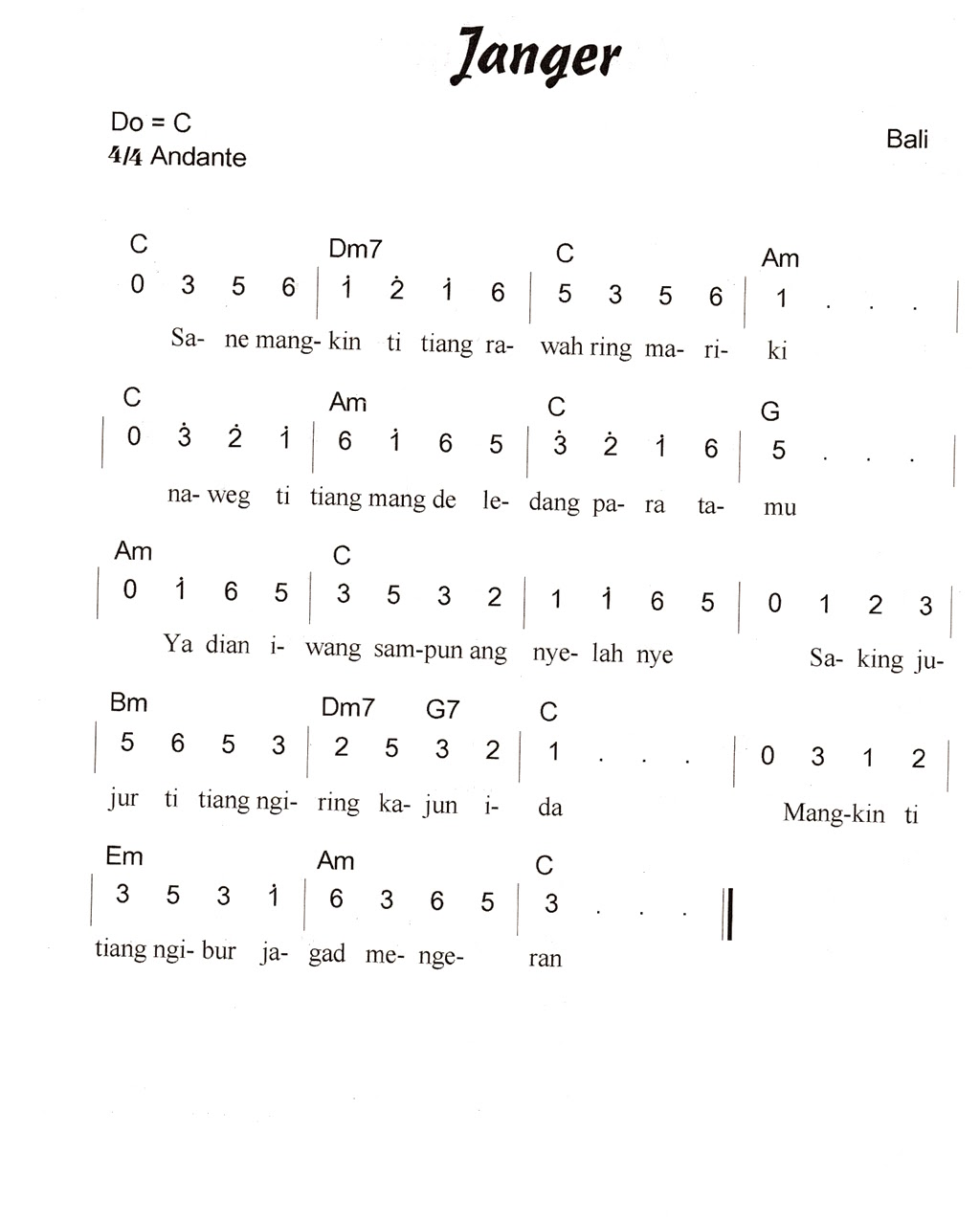 Not Angka Lagu Daerah Bali