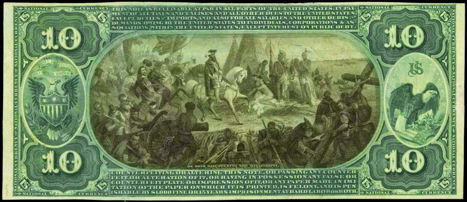 Ten Dollar Bill National Currency 1875