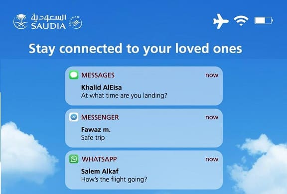 SAUDIA LAUNCHED FREE FB MESSENGER TEXTING ON BOARD