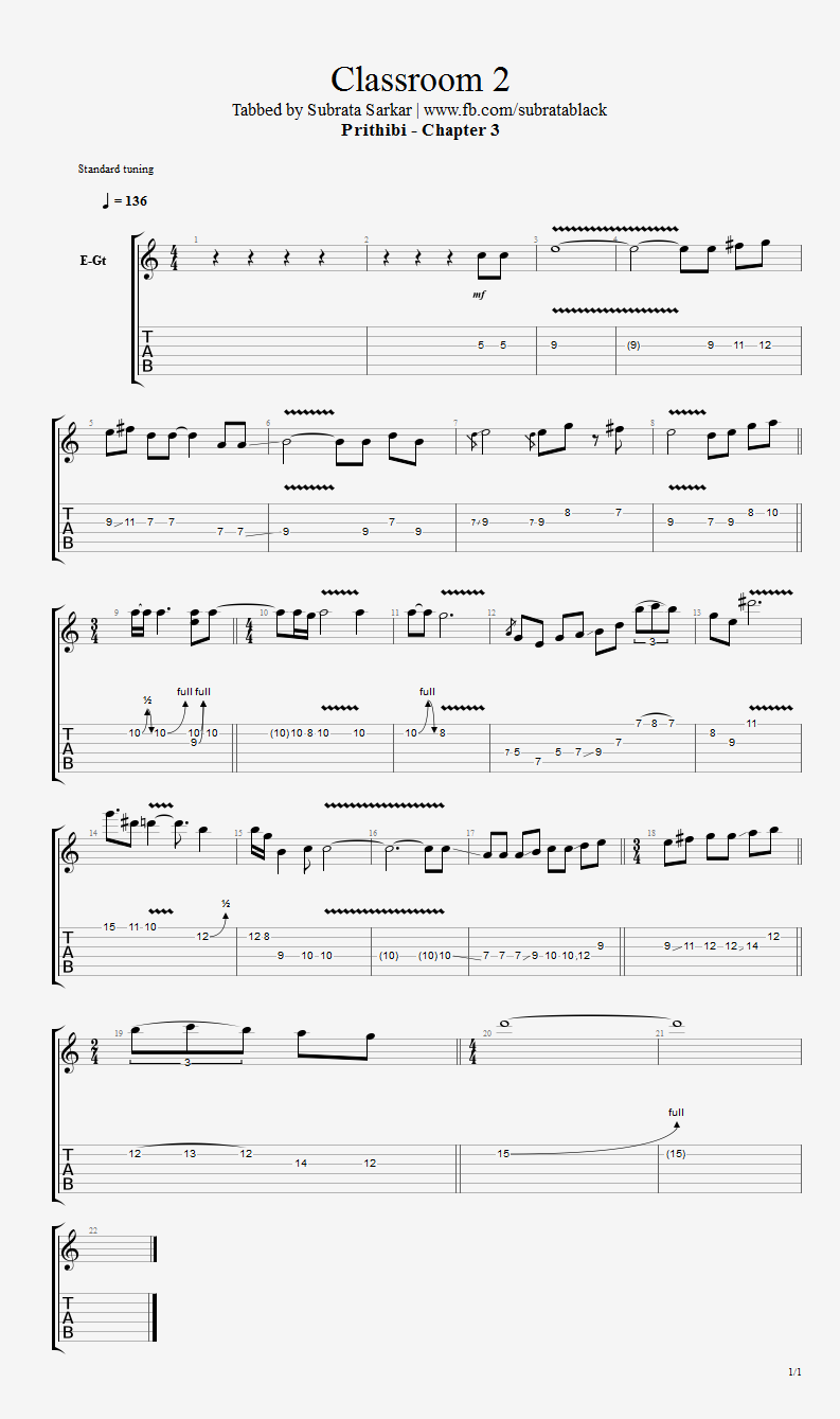 Guitar Chord Tab Lyric and Tutorial: Classroom 2 Chords Lead