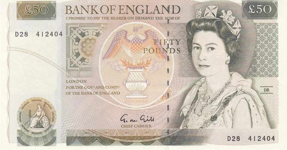 Bank Of England Notes Fifty Pounds Note 1988 Queen