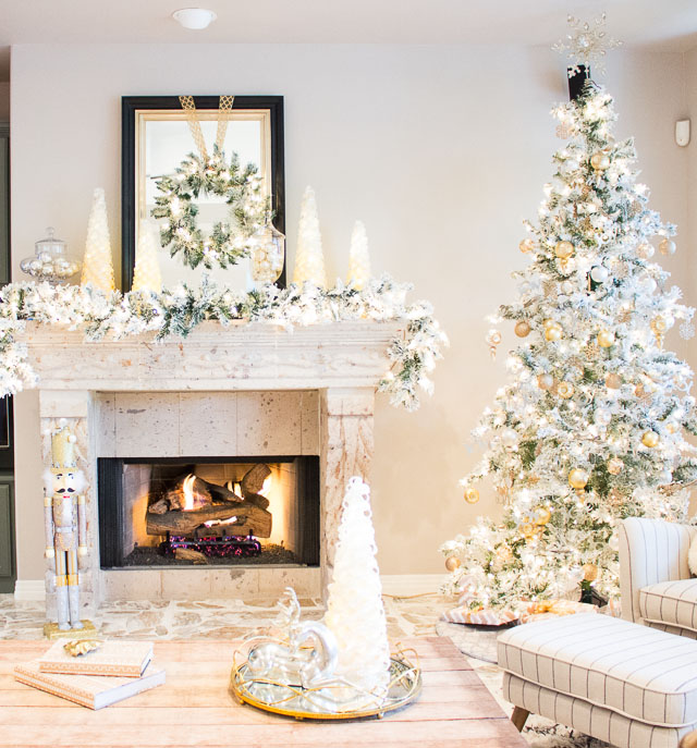 A Christmas wonderland living room with mixed metallics and flocked greenery!