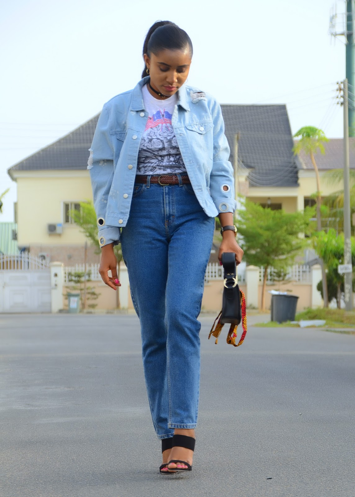 mom jeans, denim jacket, mules