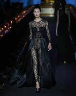 Celebrity model Liu Wen rocks one of 70 ready-to-wear and haute couture looks unveiled by upscale boutique La Perla.