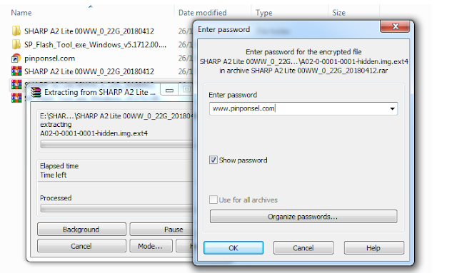 Masukkan Password pada file firmware sharp A2 Lite