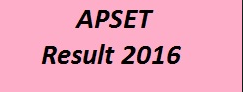 APSET 2016 Results APSET Results 2016 Released