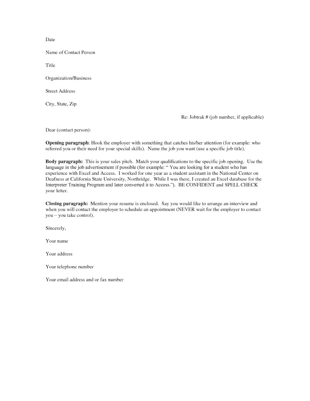Free Sample Resume Cover Letter NIWE – Sample Microsoft Word Cover Letter Template