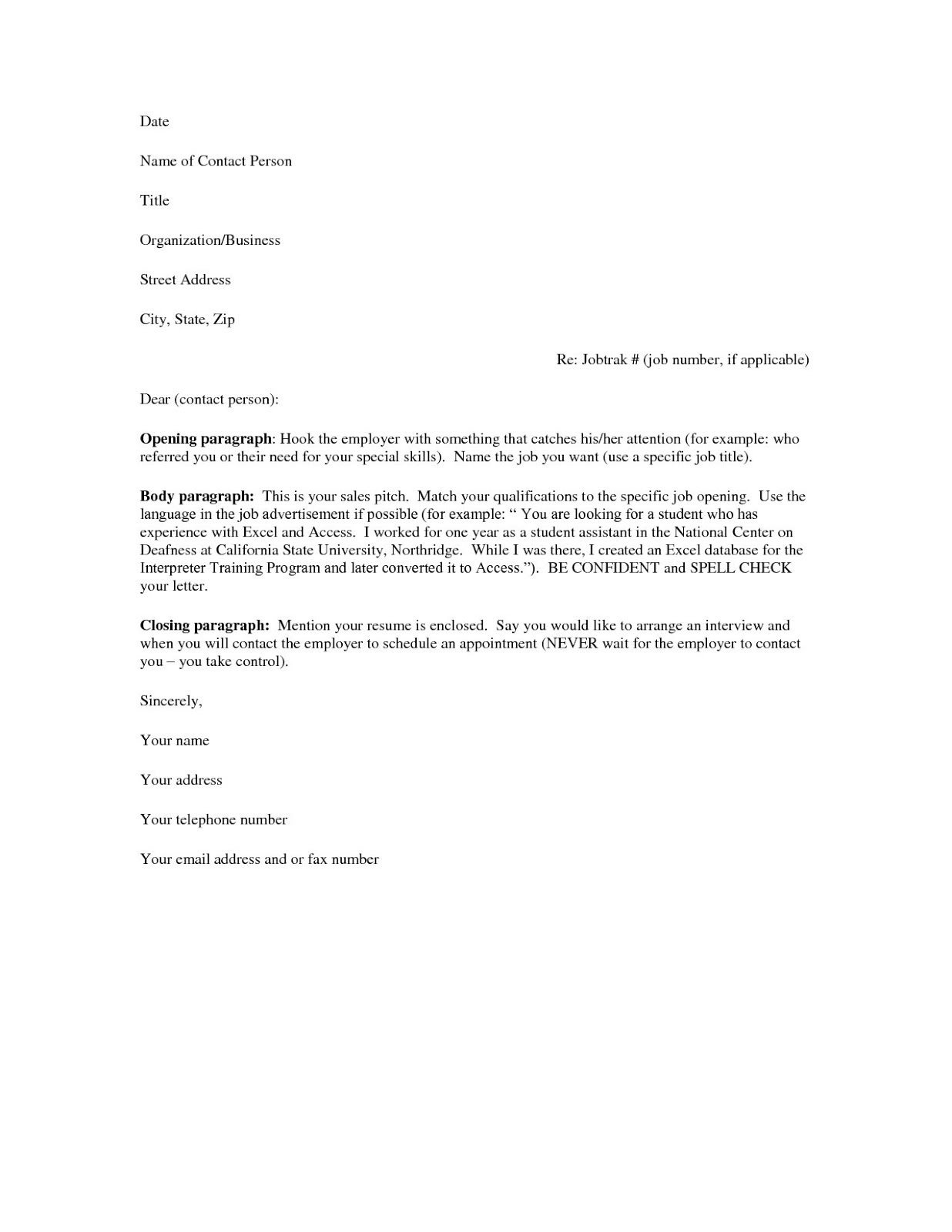 template for cover letter free