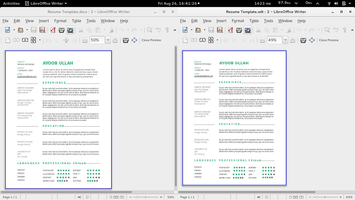 libreoffice 5 resume templates