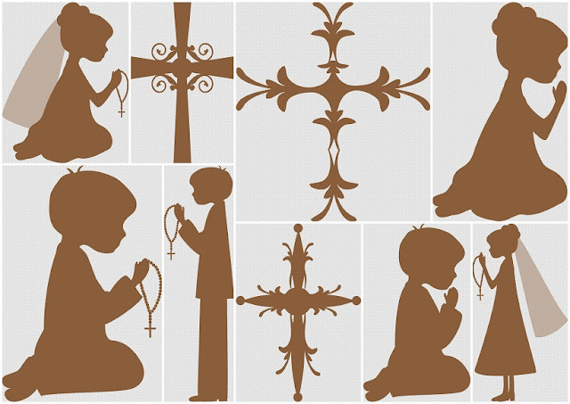 Silhouettes First Communion Clipart.