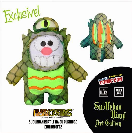 "New York Comic Con 2014 Exclusive ""Suburban Reptile Kaiju"" Purridge Plush by Furry Feline Creatives"