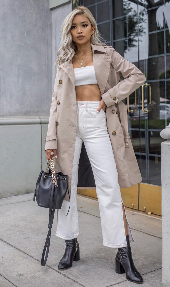 ootd / beige trench coat + white set + bag + boots
