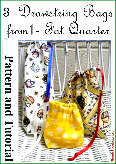 Three small drawstring bags from one fat quarter.  Designed for Operation Christmas Child shoeboxes.