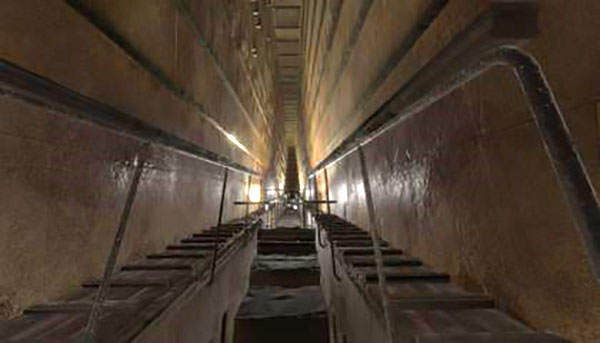 The grand staircase leading to the King's chamber in the Great Pyramid (Source: Smithsonian.com, November 5, 2017)