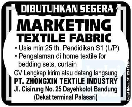 Lowongan PT. Zhongxin Textile Industry