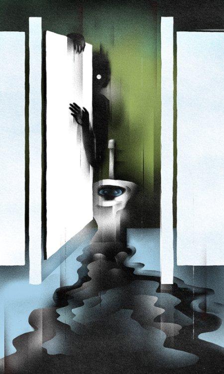 Daniel Zender ilustrações sombrias surreais minimalistas terror crítica social