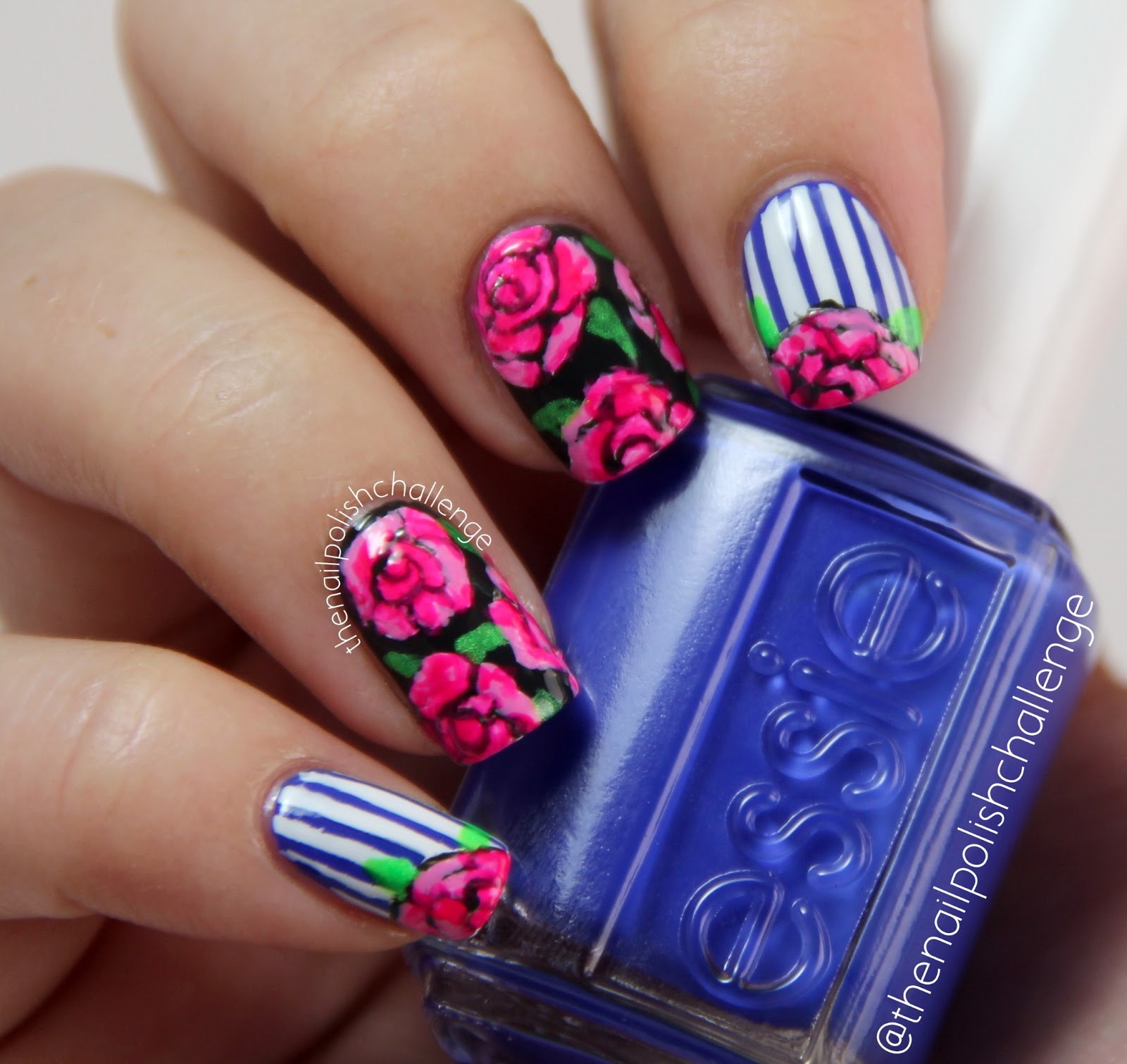 Acrylic Nail Art Rose: Kelli Marissa: Roses And Stripes