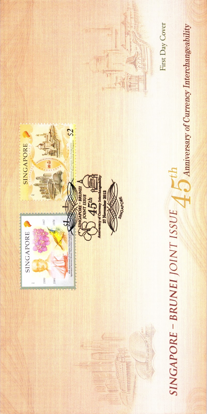 Precancelled First Day Cover affixed with two stamp designs1 (S$3.85)
