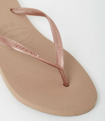 Havaianas rose gold thongs | Almost Posh