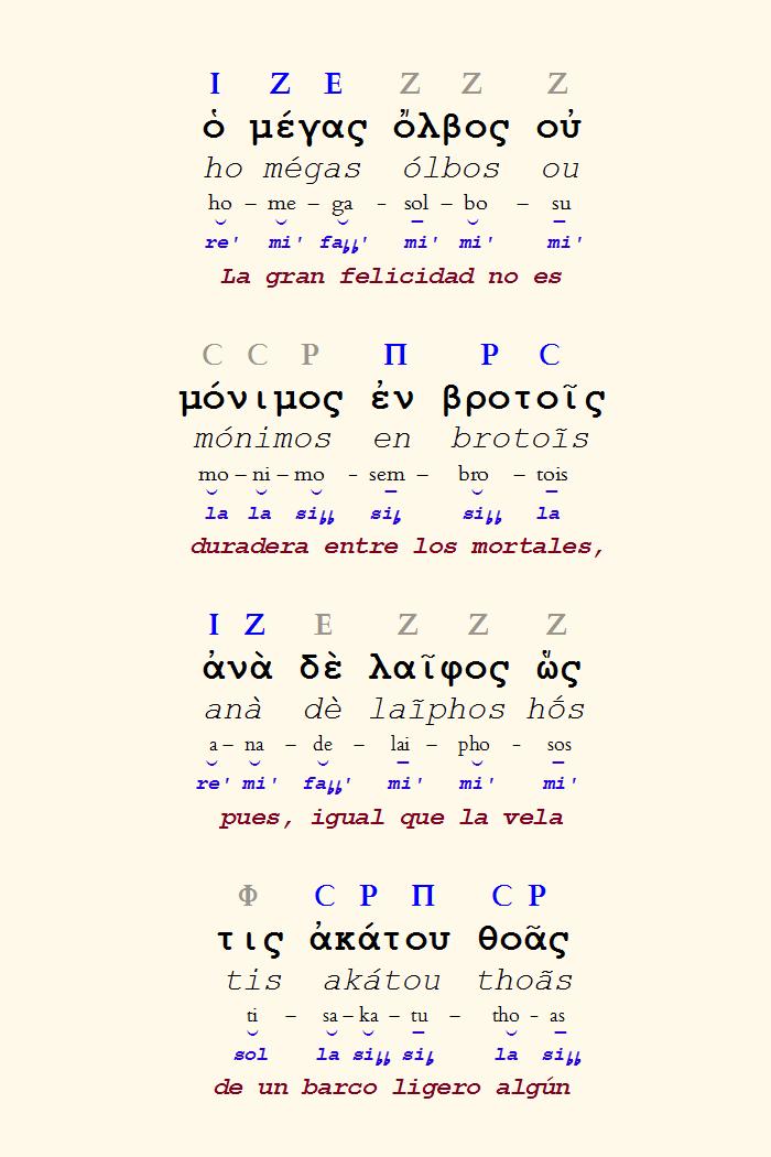 Figura 7. Reconstrucción de los versos 5-8 del fragmento del coro del Orestes de Eurípides.