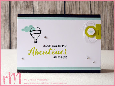 Stampin' Up! rosa Mädchen Kulmbach: Stamp Impressions Blog Hop: My favourite colour combination: Limette, Schwarz, Aquamarin, Flüsterweiß. Geburtstagskarte mit Lebe Deinen Traum und Stanze Karteireiter
