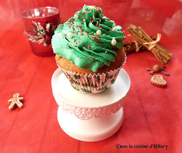 Cupcakes sapin aux épices, glaçage cannelle