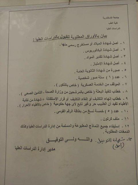 تسجيل الدراسات العليا جامعة اسكندرية دي الاوراق المطلوبة.