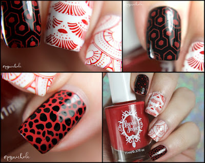 Powder Perfect Fire Engine Red Stamping Polish | over Black and White Stamping Polishes