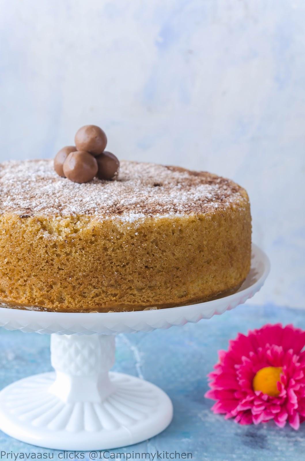 Eggless Whole Wheat Vanilla Cake Basic Sponge Cake