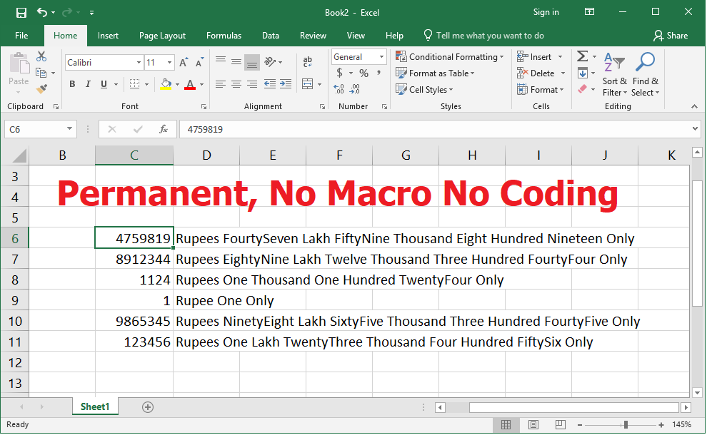 Learn New Things: MS Excel: Easily Convert Numbers to Word