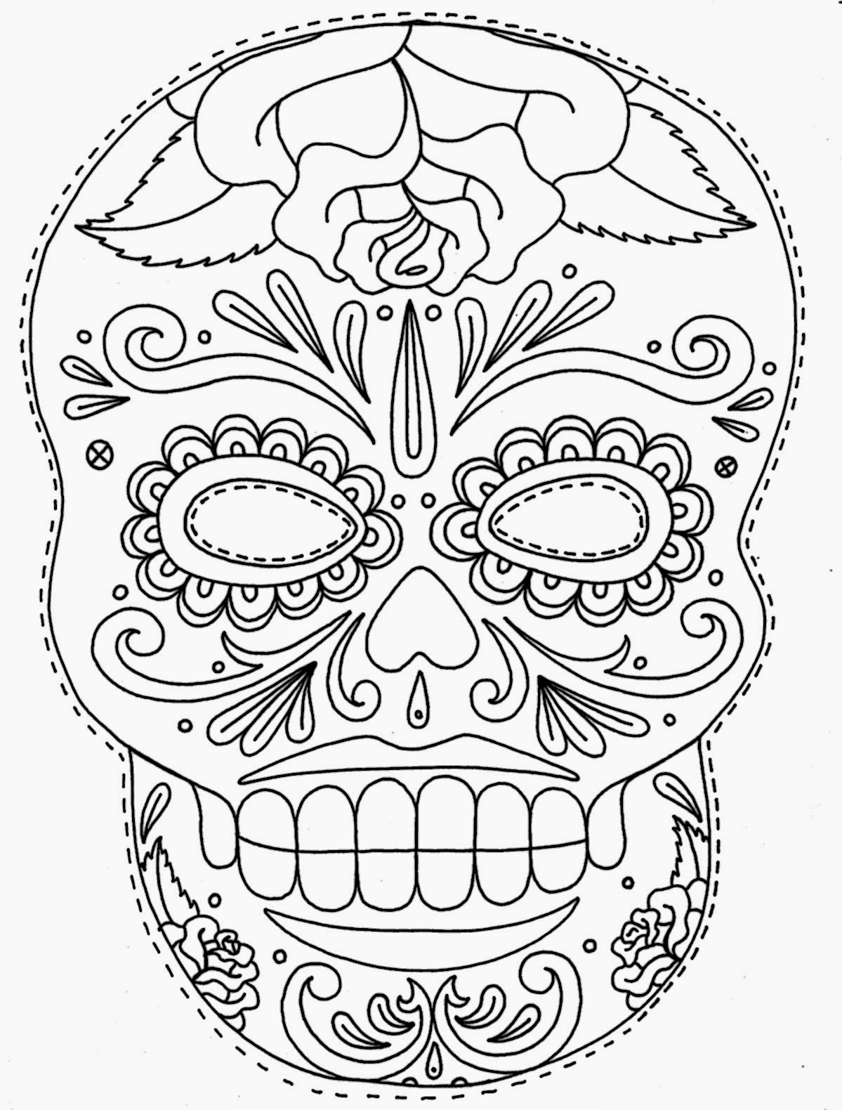 Tattoos book 2510 free printable tattoo stencils skulls for Day of the dead skull mask template