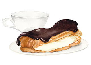 food illustration, freelance illustrator, watercolour eclair, watercolour food, watercolour, watercolor, uk, london, london illustrator, london illustration, painting watercolour, artist watercolour,