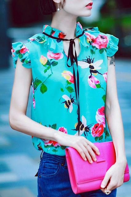 Ruffle floral top