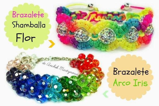 Como hacer 2 Brazaletes Shamballa Flor y Arco Iris