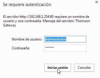 Ingreso de Usuario y Clave para acceder al Gateway