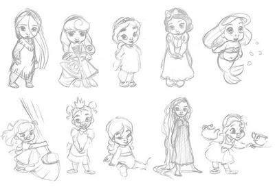 Нарисованные диснеевские принцессы в детстве, прототипы кукол