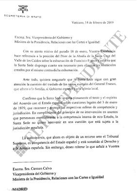 CARTA ENVIADA POR EL CARDENAL PIETRO PAROLIN A CARMEN CALVO EL PASADO 14 DE FEBRERO.