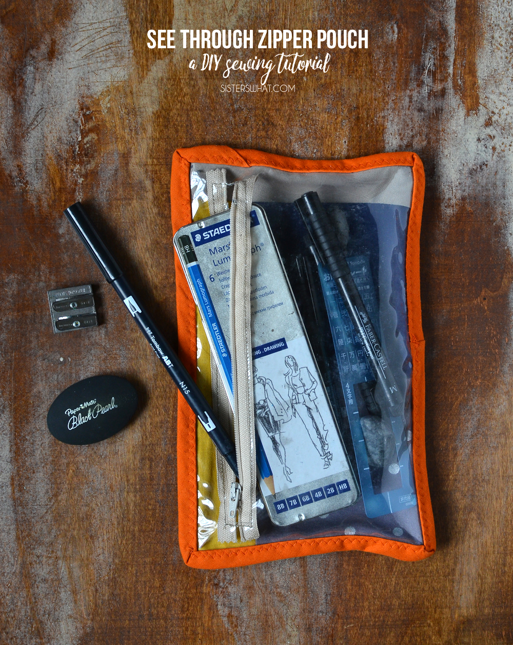 see through zipper bag tutorial for storing drawing supplies