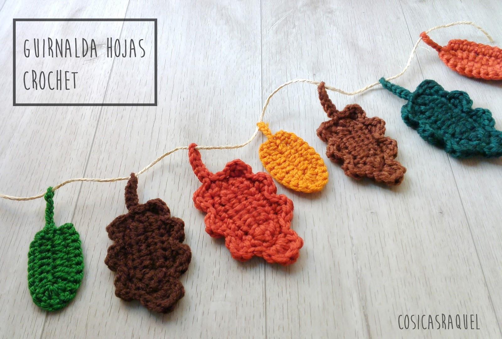 cosicasraquel: Guirnalda Hojas Crochet
